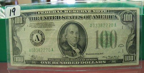 2019: 1934 $100 Federal Reserve Note  Fine