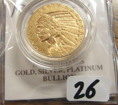 2026: 1915 $5.00 Indian Head Gold Coin   AU