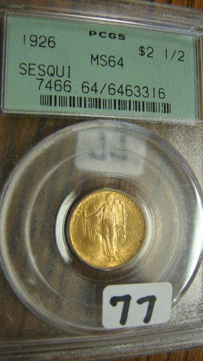 2077: 1926 Sesquicentennial $2.50 Commemorative Gold Co