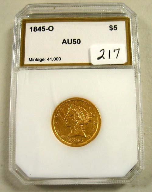 2217: 1845-O $5.00 Liberty Head Gold Coin   PCI  AU 50