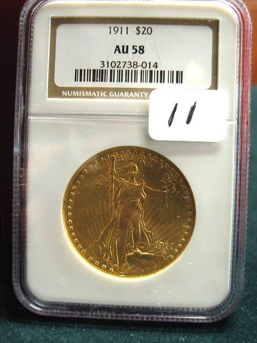 2011: 1911 $20.00 Saint Gaudens Gold Coin  NGC  AU 58