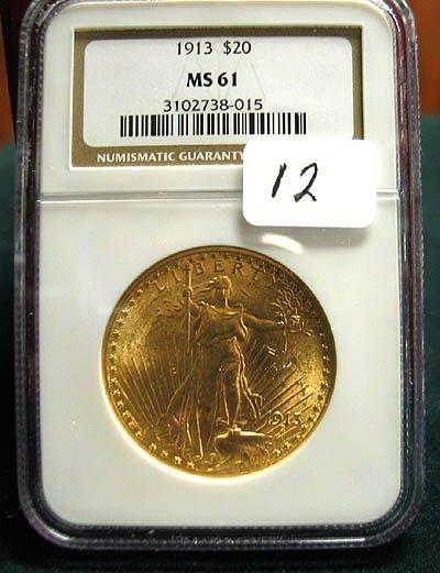 2012: 1913 $20.00 Saint Gaudens Gold Coin  NGC  MS 61