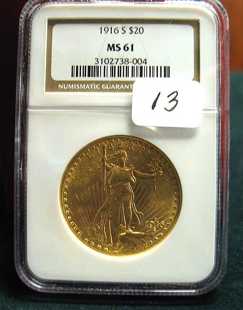 2013: 1916-S $20.00 Saint Gaudens Gold Coin  NGC  MS 61