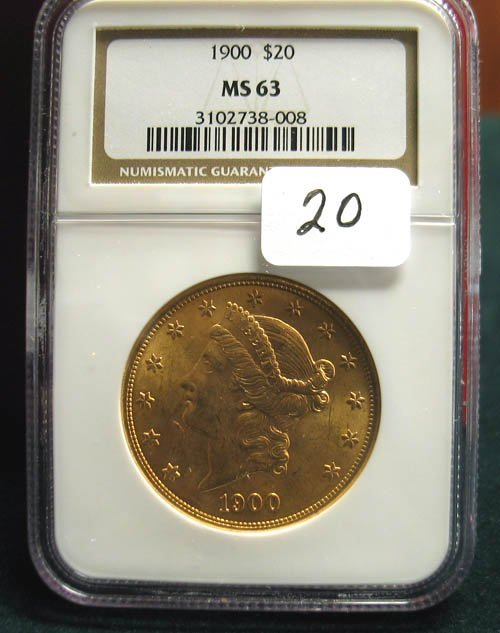 2020: 1900 $20.00 Liberty Head Gold Coin  NGC  MS 63