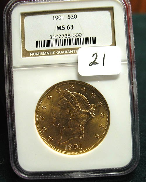 2021: 1901 $20.00 Liberty Head Gold Coin  NGC  MS 63