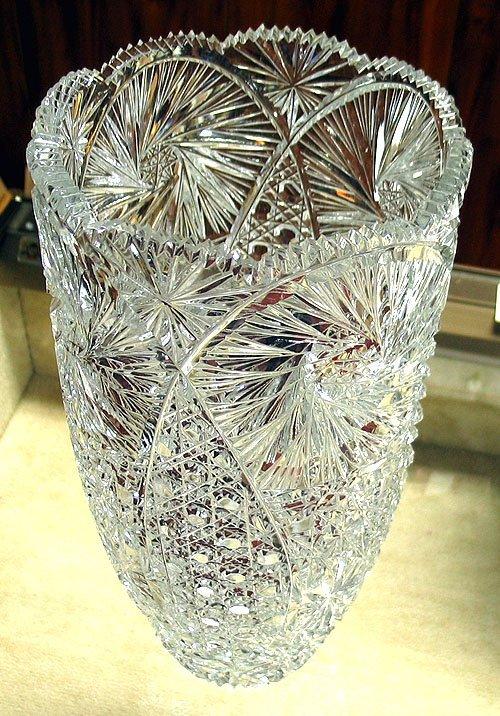 "3006: Hand cut lead crystal vase 15"" tall"
