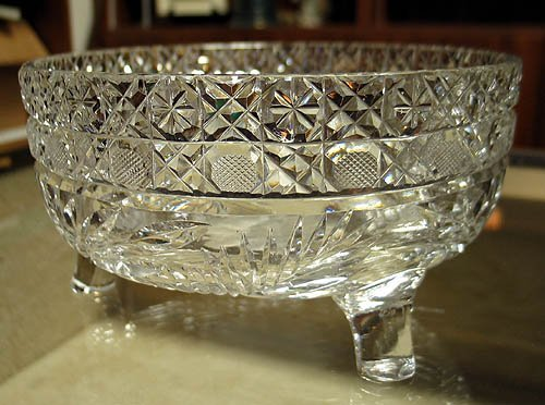 3009: Cut glass footed bowl