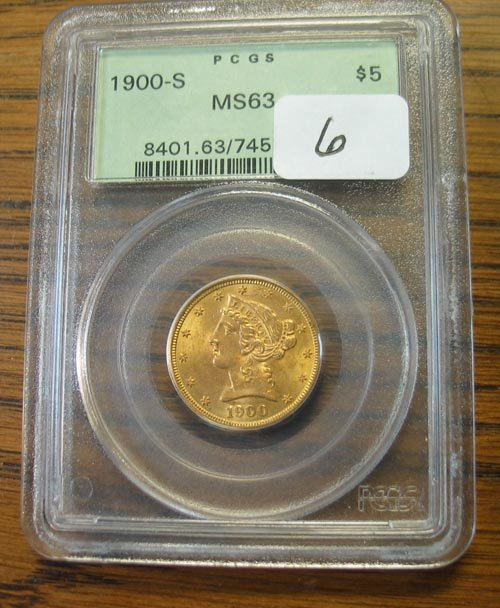 2006: 1900-S $5.00 Liberty gold coin. PCGS MS63