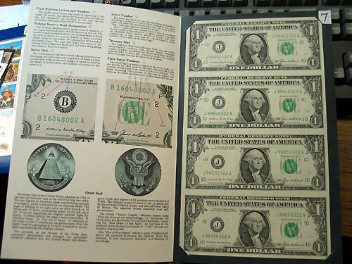 2007: 1985 $1.00 Uncut Sheet of 4 Federal Reserve Notes