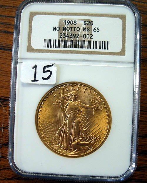 """2015: 1908 $20.00 Saint Gaudens Gold Coin """"No Motto""""  N"""