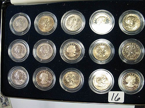 2016: Set of 15 Susan B. Anthony $ Coins inc. Proofs in