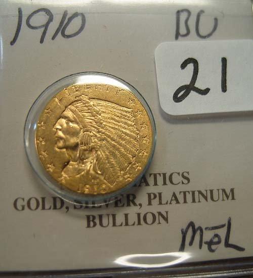 2021: 1910 $2.50 Indian Head Gold Coin  BU