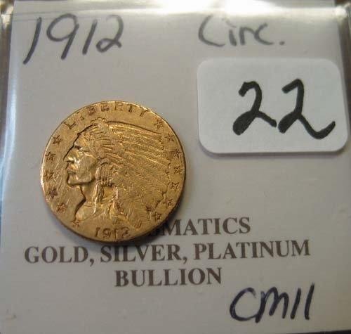 2022: 1912 $2.50 Indian Head Gold Coin  Circulated - Da
