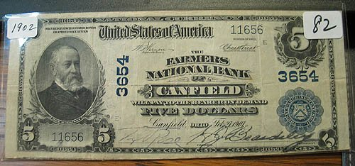 2082: 1902 $5.00 Farmers National Bank of Canfield, Ohi