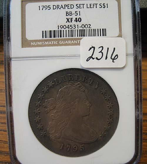 2316: 1795 Draped Set Left Silver Dollar  NGC  XF 40