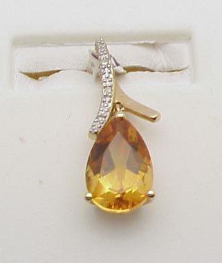 3012: Citrine pendant, 14kt yellow gold