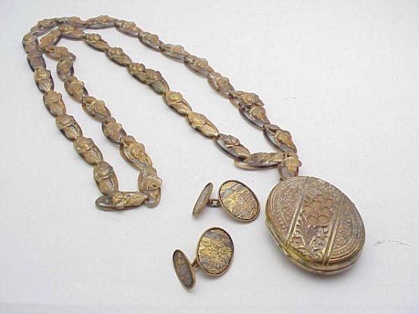 3016: Victorian Necklace Locket & cufflink