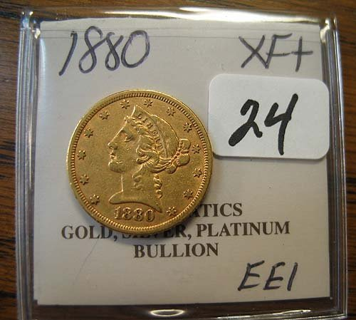 4024: 1880 $5.00 Liberty Head Gold Coin  XF+