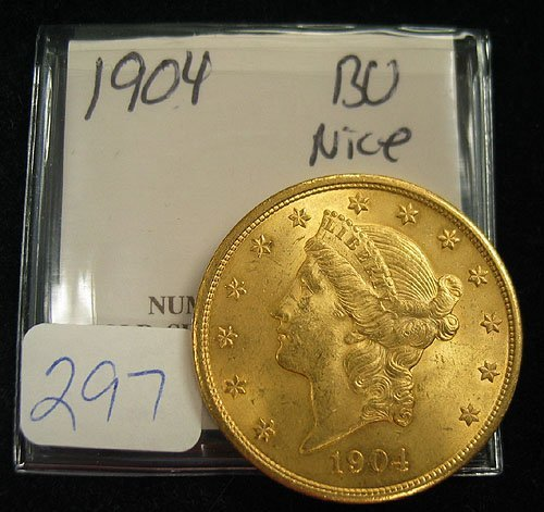 4297: 1904 $20.00 Liberty Head Gold Coin  MS 62