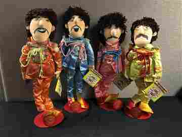 Set Of 4 Beatles Sargent Peppers Dolls with Stands
