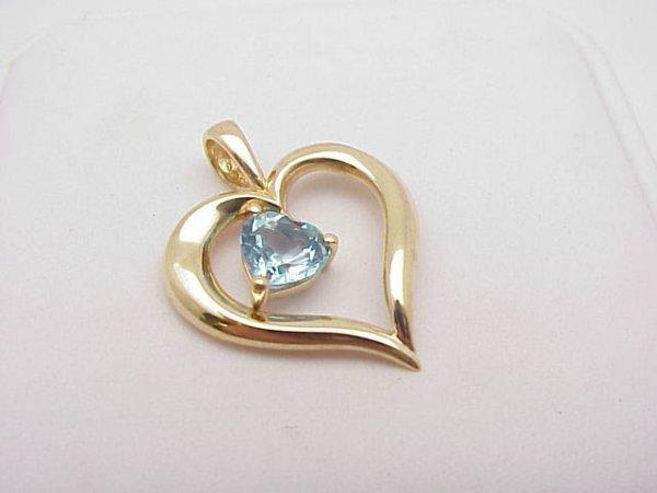 3008: Blue Topaz Heart Pendant