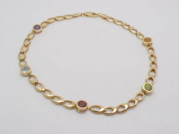 3009: Multi-Stone Anklet 14kt yellow gold