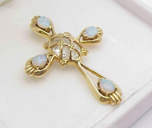 3015: 14kt Gold Opal Cross Pendant