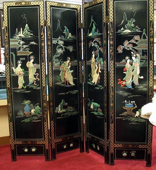 3001: Oriental folding screen - black lacquer