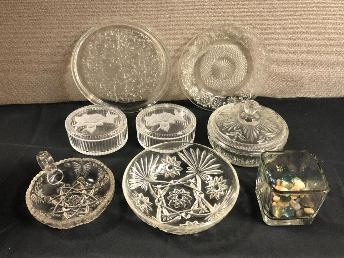 Lot Of Frosted Crystal, Crystal, and Glass Pieces