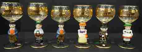 Set of 8 Vintage Glasses Goebel Hummel Figurines