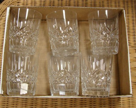 6: Box lot of 6 Waterford Tumblers