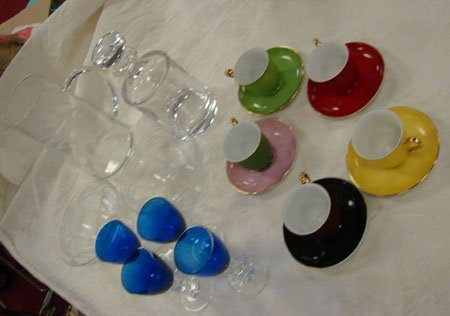 11: Lot demitasse cups, etched crystal, etc
