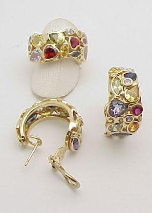 277: Semi-Precious Stones Ring & Earrings