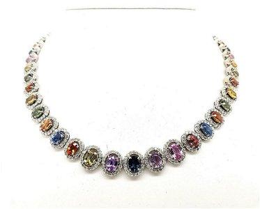 14kt white gold multi-color sapphire necklace