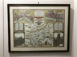 Framed 1646 Midlesex John Speed Reproduction Map