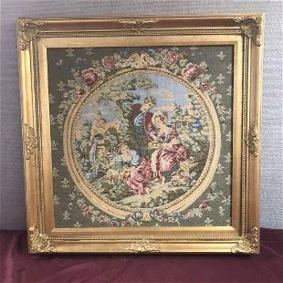 Ornate Framed Embroidered Tapestry Garden Scene