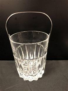 Clear Lead Crystal Small Ice Bucket with Handle