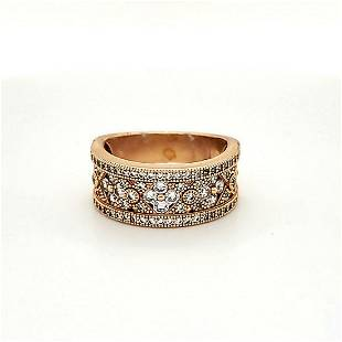 Ros Sterling Silver cubic zirconia Wide Band
