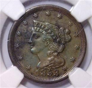 1853 Half Cent C1 NGC AU Details