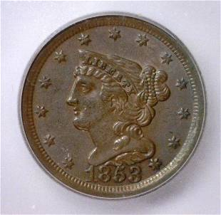 1853 Braided Hair Half Cent ICG AU58