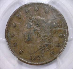 1837 Coronet Head Large Cent Med Letters PCGS XF45
