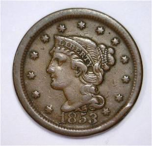 1853 Braided Hair Large Cent 1c Very Fine VF