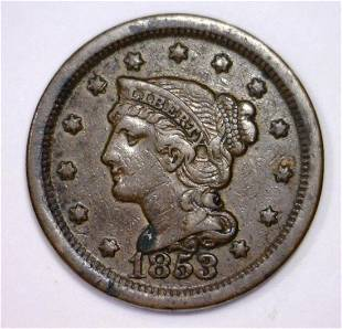 1853 Braided Hair Large Cent 1c Extra Fine XF