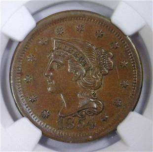 1854 Braided Hair Large Cent NGC AU Scratches