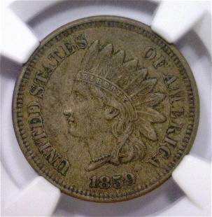 1859 Indian Head Cent 1st Year NGC XF45