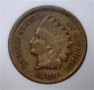 1908S Indian Cent Fine details ANACS Net VG8