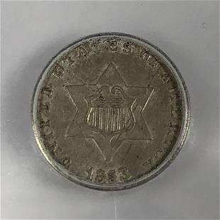 1853 Three Cent Silver 3cS ICG AU50
