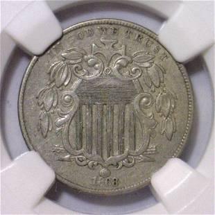 1868 Shield Nickel NGC AU53