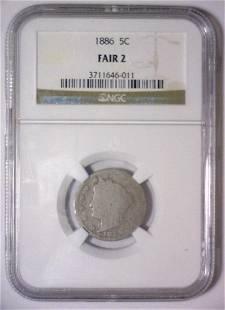 1886 Liberty Head V Nickel NGC Fair F2