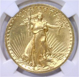 1907 $20 St Gaudens High Relief Wire Rim NGC PF65
